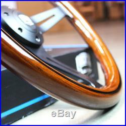 14 Matte Black Steering Wheel Dark Stained Wood Grip FS Horn Button