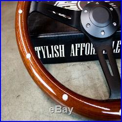 14 Matte Black Steering Wheel Dark Stained Wood Grip with Rivets
