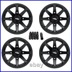 14 RockTrix RT102 14x7 4x156 ATV Wheels Rims, 4+3 offset, Includes 3/8x24 Nuts