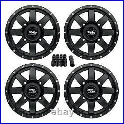 14 RockTrix RT106 14x7 4x156 ATV Wheels Rims, 4+3 offset, Includes 3/8x24 Nuts