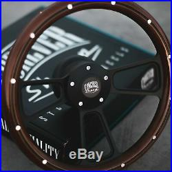 14 Steering Wheel Matte Black Mahogany Half Wrap Grip with Aluminum Rivets