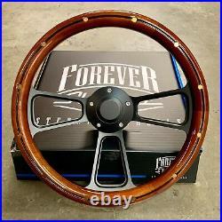 14 Steering Wheel Matte Black Mahogany Half Wrap Grip with Brass Rivets