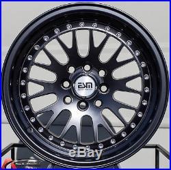 15X8 ESM 007 Wheels 4X100/114.3 MATTE BLACK RIMS +20MM FITS HONDA ACCORD CIVIC