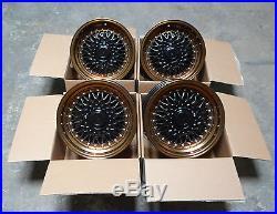 15 Dare Rs Style Alloy Wheels 4x100 4x108 15x8 Et15 X 4 Matt Black Bronze