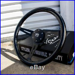 15 Inch Matte Black Steering Wheel Black Mahogany Wood Grip and Horn Button