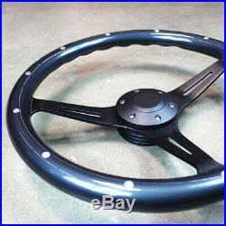 15 Matte Black Gray Steering Wheel Real Wood Grip 375mm 6 Hole Chevy GMC