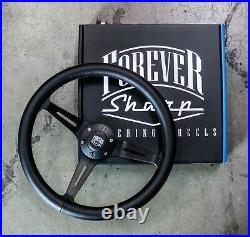 15 Matte Black Steering Wheel Leather Wrapped (380mm) 6 Hole JDM