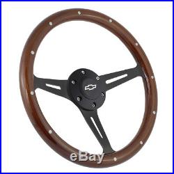 15 Matte Black Steering Wheel Riveted Wood Grip (380mm) 6 Hole Chevy GMC C10