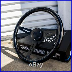 15 Matte Black Steering Wheel with Black Wood Grip and Horn Button 6 Hole