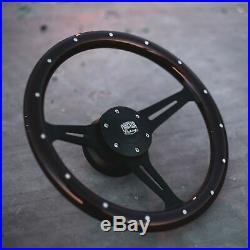 15 Steering Wheel Matte Black Spokes Riveted Dark Wood Grip 6 Hole