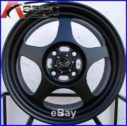 15x6.5 +40 Rota Slipstream 4x100 Flat Black Wheel Fits CIVIC Yaris Miata Integra