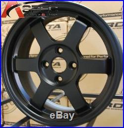 15x7 Rota Grid Wheels 4x100 Flat Black Rim Fits 4 Lug CIVIC Crx Xb Integra Miata