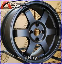 15x7 Rota Grid Wheels 4x100 Flat Black Rims Fits 4 Lug Acura Integra 1986-2001