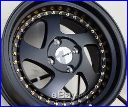 15x8 Avid. 1 Wheels Av-19 4x100 Et25 Matte Black Rim Fits Honda Accord CIVIC Crx