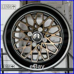15x8 JNC 040 JNC040 4x100 25 Matte Black Bronze Face Wheel Rims set(4)