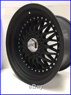 16 Bbs Rs Style Wheels In Matte Black 9j Deep Dish, Wide, Euro, Jdm