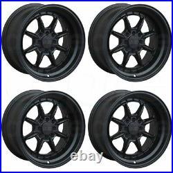 16x8 XXR 002.5 4x100/4x114.3 0 Flat Black Wheels Rims Set(4)