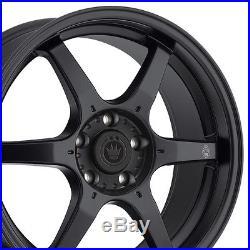 17x7.5 Konig Backbone Wheels 5x100mm Rim Et45 Matte Black Fits Wrx Celica Tc