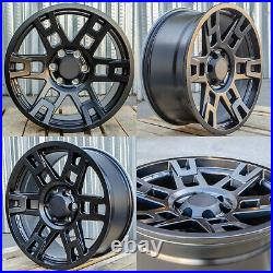 17x8 +5 6x139.7 Matte Black Wheels Rim Fits Tacoma Fj Cruiser Lexus Gx460 Gx470