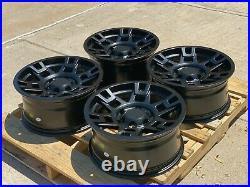 17x8 Matte Black Wheels Fits Toyota 4Runner Tacoma FJ 17 Inch 6x139 +15 Rims Set