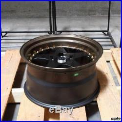 17x9 JNC 010 JNC010 5x114.3 25 Matte Black Matte Bronze Lip. Wheel Rims set(4)