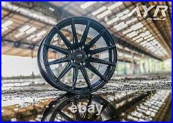 18 Alloy Wheels 5x112 Staggered Concave Multi Spoke Matt Black Ayr 02 Mb