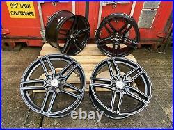 18 x4 New TTRS Rotor Style Alloy Wheels MATT BLACK TW5 Audi A3 A4 A6 5x112