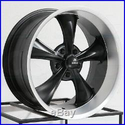 18x8/18x9.5 Matte Black Machined Lip Wheels Ridler 695 5x4.75/5x120.65 0/6 Set