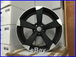 19 Audi TTRS Rotor Style Alloy Wheels Matt Black Machined Audi A4 A6 A8 5x112