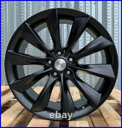 19 Turbine Style Matte Black Wheels Fit Tesla Model 3 Rwd Awd