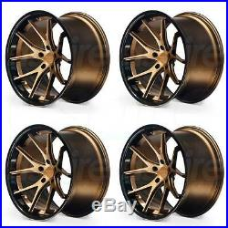 19x8.5 Ferrada FR2 5x112 42 Matte Bronze Black Lip Wheels Rims Set(4)