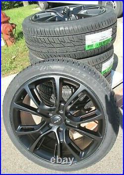 22 Jeep Grand Cherokee Srt8 Style New Matte Black Wheels Tires Set Of Four 9113