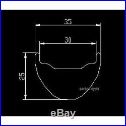 29er MTB Carbon Clincher Rim 35mm wide UD Matt 32 Hole beadless Mountain Wheel