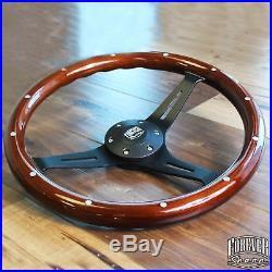 380mm Matte Black Steering Wheel Riveted Wood Grip (15) 6 Hole Chevy GMC C10
