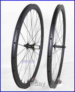 38mm Clincher Tubeless Carbon Wheel set 23mm Road Bike 700C 3k Matt Rim Powerway