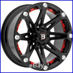 4-18 Inch Ballistic 814 Jester 18x9 6x139.7(6x5.5) -12mm Flat Black Wheels Rims