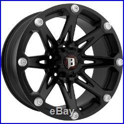 4-18 Inch Ballistic 814 Jester 18x9 6x139.7(6x5.5) +12mm Flat Black Wheels Rims