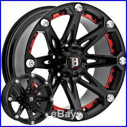 4-NEW 20 Inch Ballistic 814 Jester 20x9 5x150 +12mm Flat Black Wheels Rims
