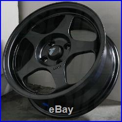 4-New 15 AVID1 AV08 AV-08 Wheels 15x6.5 4x100 35 Matte Black Rims