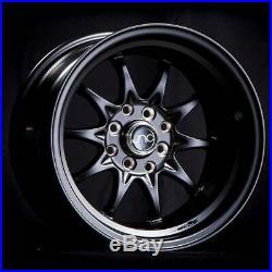 4-New 15 JNC 003 Wheels 15x8/15x9 4x100/4x114.3 0/0 Matte Black Staggered Rims