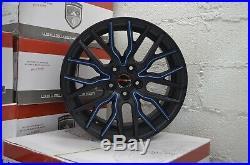 4 Wheels 18 inch Matte Black Blue FLARE Rims fits FORD FUSION HYBRID 2013 2018