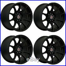 4 x AXE EX8 Matt Black Alloy Wheels 15x8 4x108 ET30 73.1mm Centre