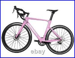 52cm Road Bike Full Carbon Disc Brake 700C Race Frame Alloy Wheels Clincher Pink