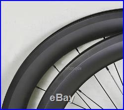 56mm Carbon Clincher Wheel Road Bicycle 700C UD Matt 11s Black 27mm Rims U shape