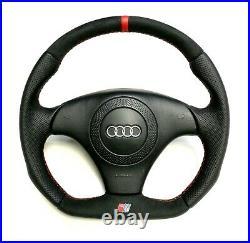 AUDI A4 S4 (B5) TT custom flat bottom steering wheel FULL ALCANTARA + leather