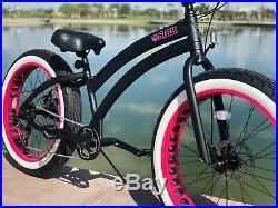 Aluminum Fat Tire Bike Beach Cruiser Sikk 7 SPEED Flat Black PINK Wheels
