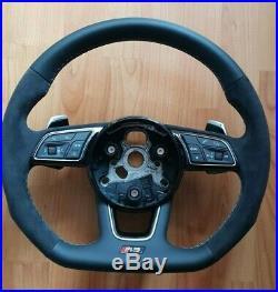 Audi 8V RS RS3 S3 A3 A4 A5 Steering Wheel flat bottom paddles Alcantara