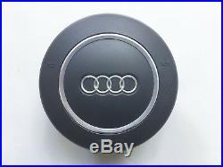 Audi A4 B7 Rs4 A8 Black Flat Bottom Round Steering Wheel Airbag 4e0880201 Bh6ps