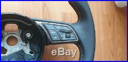 Audi S-Line 8W A4 S4 A5 S5 Q2 Q3 flat bottom steering wheel paddles RED stitch