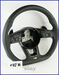 Audi S Line A4 S4 A5 S5 Q5 Sq5 Flat Bottom Half Perforated Steering Wheel #27b